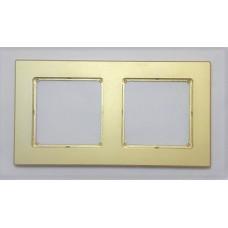 Рамка Jung 2-ая (двойная), материал алюминий, цвет Золото
