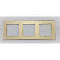 Рамка Jung 3-ая (тройная), материал алюминий, цвет Золото